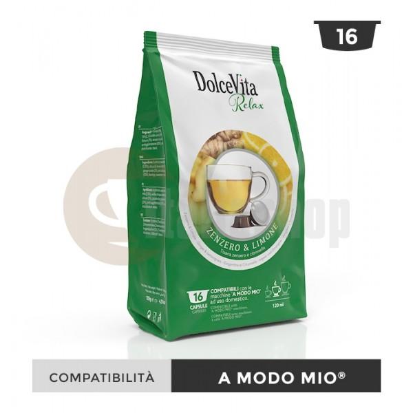 Dolce Vita Κάψουλες Συμβατές Για Lavazza A Modo Mio Zenzero limone - 16 Τεμ.