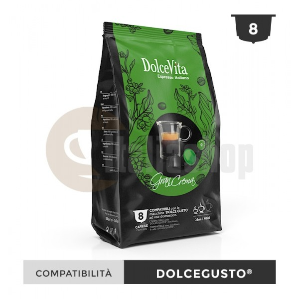 Dolce Vita Κάψουλες Συμβατές Για Dolce Gusto Gran Crema - 8 Τεμ.