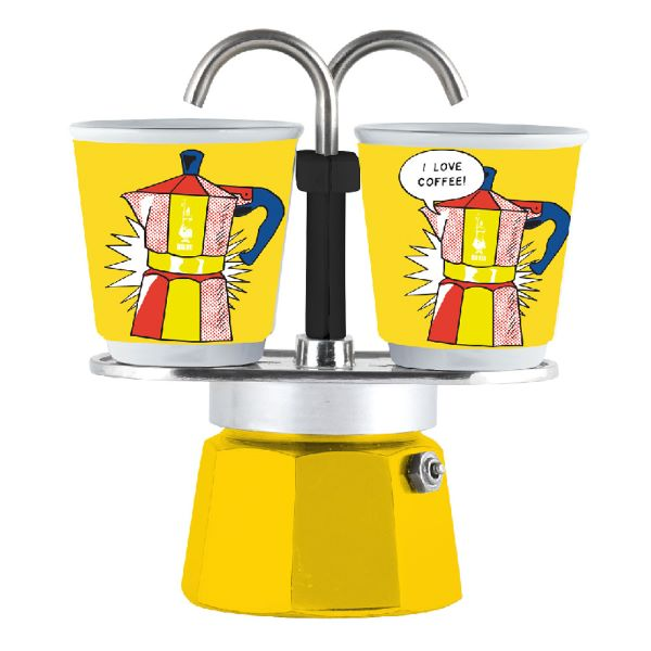 Bialetti Set Mini Express Lichtenstein Καφετιέρα Χειρός Για 2 Φλιτζάνια
