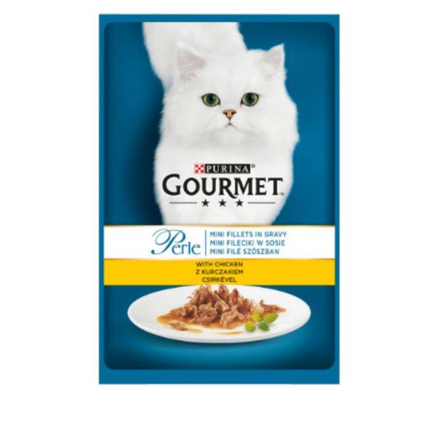Γατοτροφή Gourmet® Perle Μίνι Φιλετάκια σε Σάλτσα με Κοτόπουλο