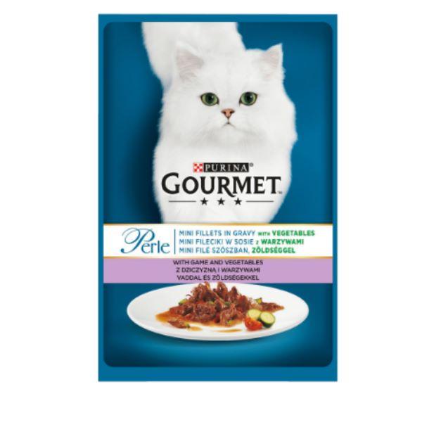 Γατοτροφή Gourmet® Perle Μίνι Φιλετάκια σε Σάλτσα με Κυνήγι και Λαχανικά