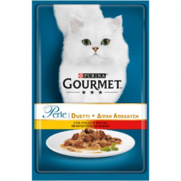 Γατοτροφή Gourmet® Perle Μίνι Φιλετάκια σε Σάλτσα με Κοτόπουλο και Βοδινό Κρέας