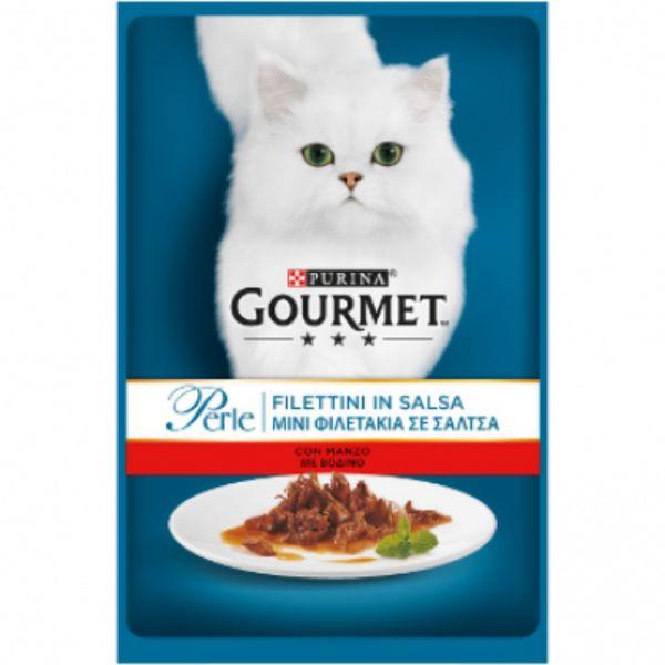 Γατοτροφή Gourmet® Perle Μίνι Φιλετάκια σε Σάλτσα με Βοδινό Κρέας