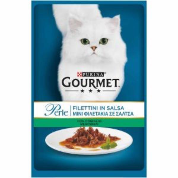 Γατοτροφή Gourmet® Perle Μίνι Φιλετάκια σε Σάλτσα με Κουνέλι