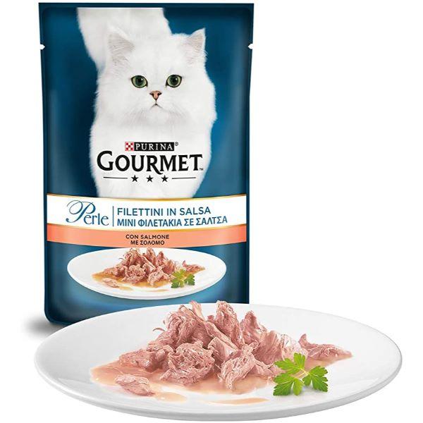 Γατοτροφή Gourmet® Perle Μίνι Φιλετάκια σε Σάλτσα με Σολομό