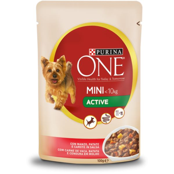 Σκυλοτροφή Purina One Mini <10kg Active με Βοδινό Κρέας και Καρότα
