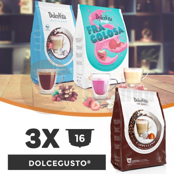 Dolce Vita Κάψουλες Συμβατές Για Dolce Gusto - 3 πακέτα x 16 τμ.