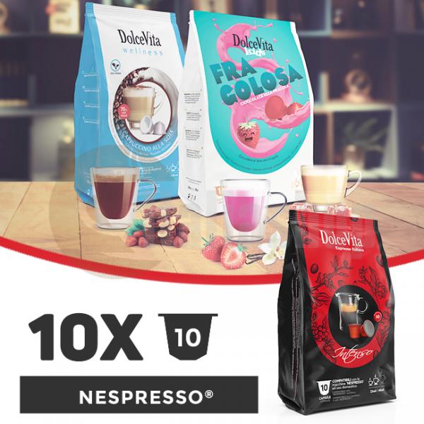 Dolce Vita Κάψουλες Συμβατές Για Nespresso - 10 πακέτα x 10 τμ.