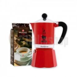 Bialetti Rainbow Καφετιέρα Χειρός για 6 φλιτζάνια &  Manuel Αλεσμένος Καφές 250 gr